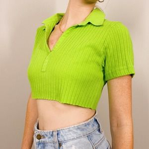 Vintage Fiorlini Lime Green Cropped Polo Top